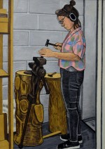 Silversmith Elizabeth Peers Working. 122 x 96 cms.
