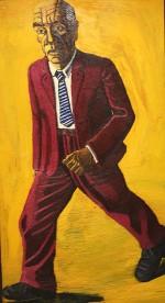 Manchester man striding, 193 x 106 cms, 1990.