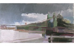 Hammersmith Bridge VII. Oil on canvas: 7ins x 13ins 2007 (sold).