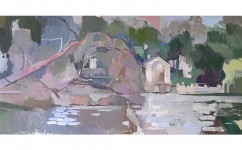 View of Serpentine IV. Oil on canvas: 12ins x 24ins (sold)