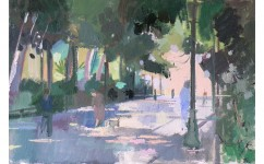 Rike Walking the Alameda Ronda. Oil on Canvas: 9ins x 13ins 2007 (sold).