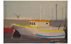 Bright Boat. Oil on canvas board: 5ins x 4ins 2009 (sold).