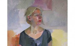 Sarah on Television in Chicago. Oil on canvas: 24ins x 30ins 2006 (£1,750)