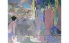 Richmond Bridge Bather. Oil on canvas: 20ins x 24ins 2007 (sold).