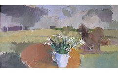 Snowdrops for snowdrop. Oil on canvas: 15ins x 29ins 2007 (sold).