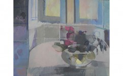 September Rose Bowl. Oil on canvas: 15.5ins x 19.5ins 2005.