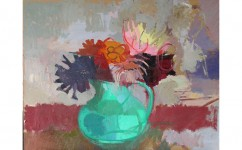 Looking at Dahlias. Oil on board: 16ins x 20ins 2005.